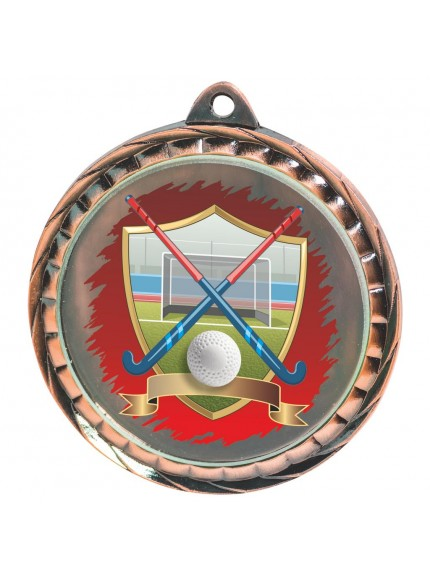 60mm Colour Print Hockey Medal - Available in Gold, Silver and Bronze