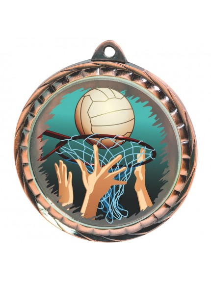 60mm Colour Print Netball Medal - Available in Gold, Silver and Bronze