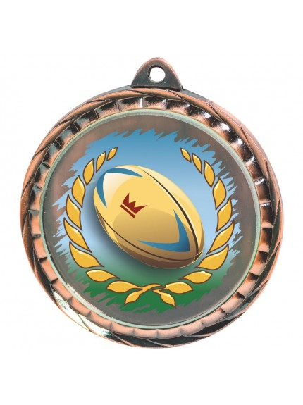60mm Colour Print Rugby Medal - Available in Gold, Silver and Bronze