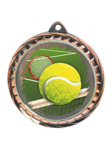 60mm Colour Print Tennis Medal - Available in Gold, Silver and Bronze