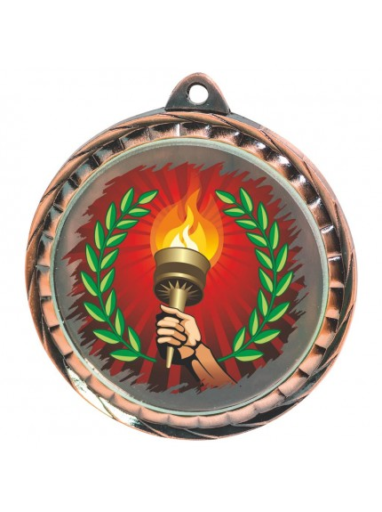 60mm Colour Print Torch Medal - Available in Gold, Silver and Bronze
