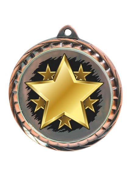 60mm Colour Print Star Medal - Available in Gold, Silver and Bronze