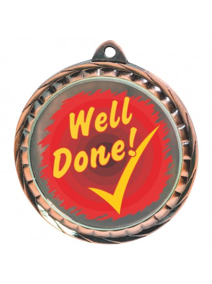 60mm Colour Print Well Done Medal - Available in Gold, Silver and Bronze