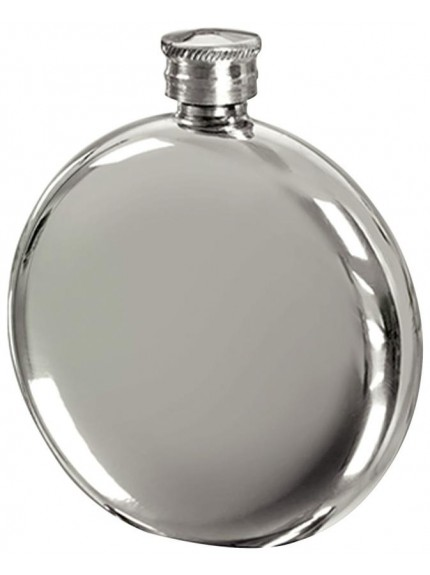 6oz Round Pewter Hip Flask In Silver Pewter