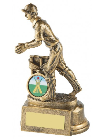 15cm Gold Resin Cricket Wicket Keeper Award