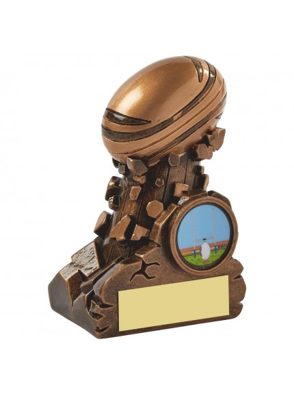 Gold Resin Column Rugby Ball Award - Available in 3 sizes