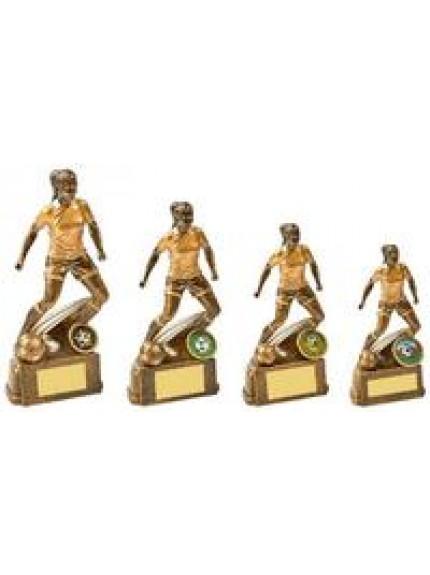 Antique Gold Female Footballer Resin - 4 Sizes