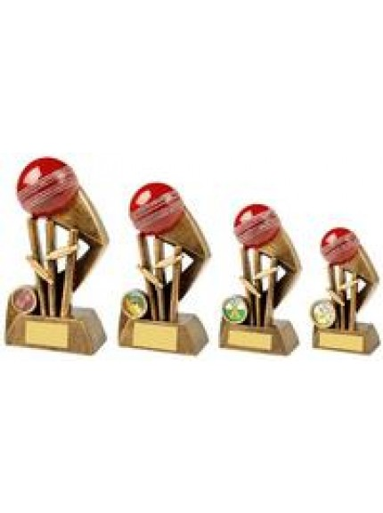 Antique Gold Cricket Award with Red Ball - 4 Sizes
