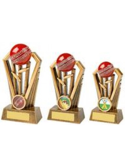 Antique Gold Cricket Wickets Award with Red Ball - 3 sizes