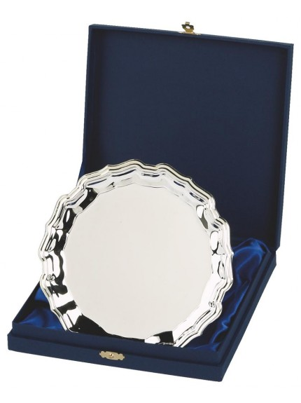 Heavy Nickel Plated Salver Award In Presentation Case