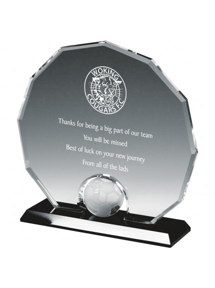 18.5cm Crystal Circle Football Award
