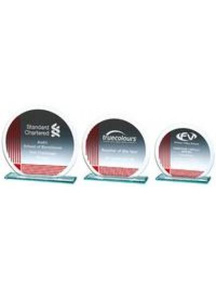 Silver/Red Circular Jade Glass Award - 3 Sizes