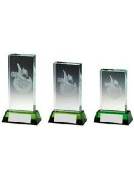 Golf Bag Jade Glass Block with Green Base - 3 Sizes