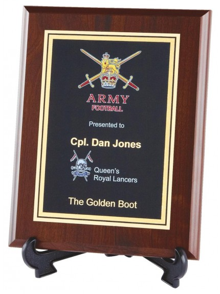 Brass Plaque Award On Rosewood