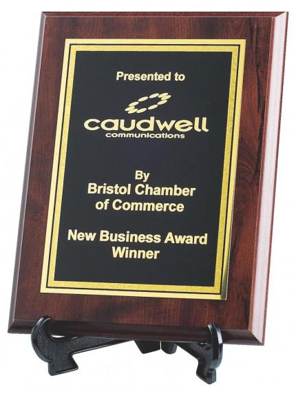 Brass Plaque Award On Mahogany