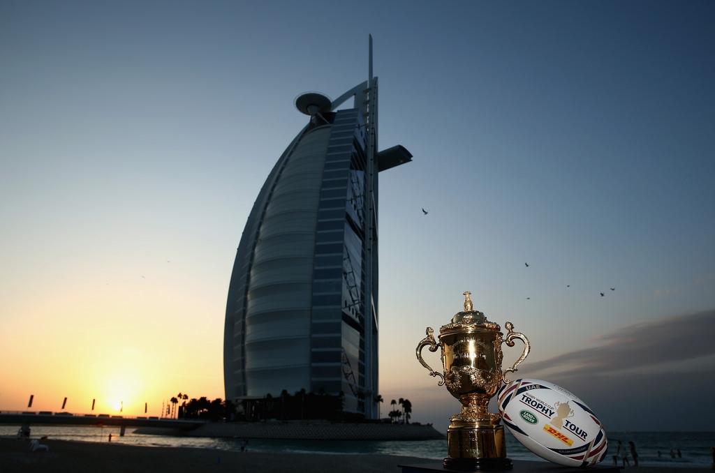 The Webb Ellis Cup visiting the Burj Khalifa