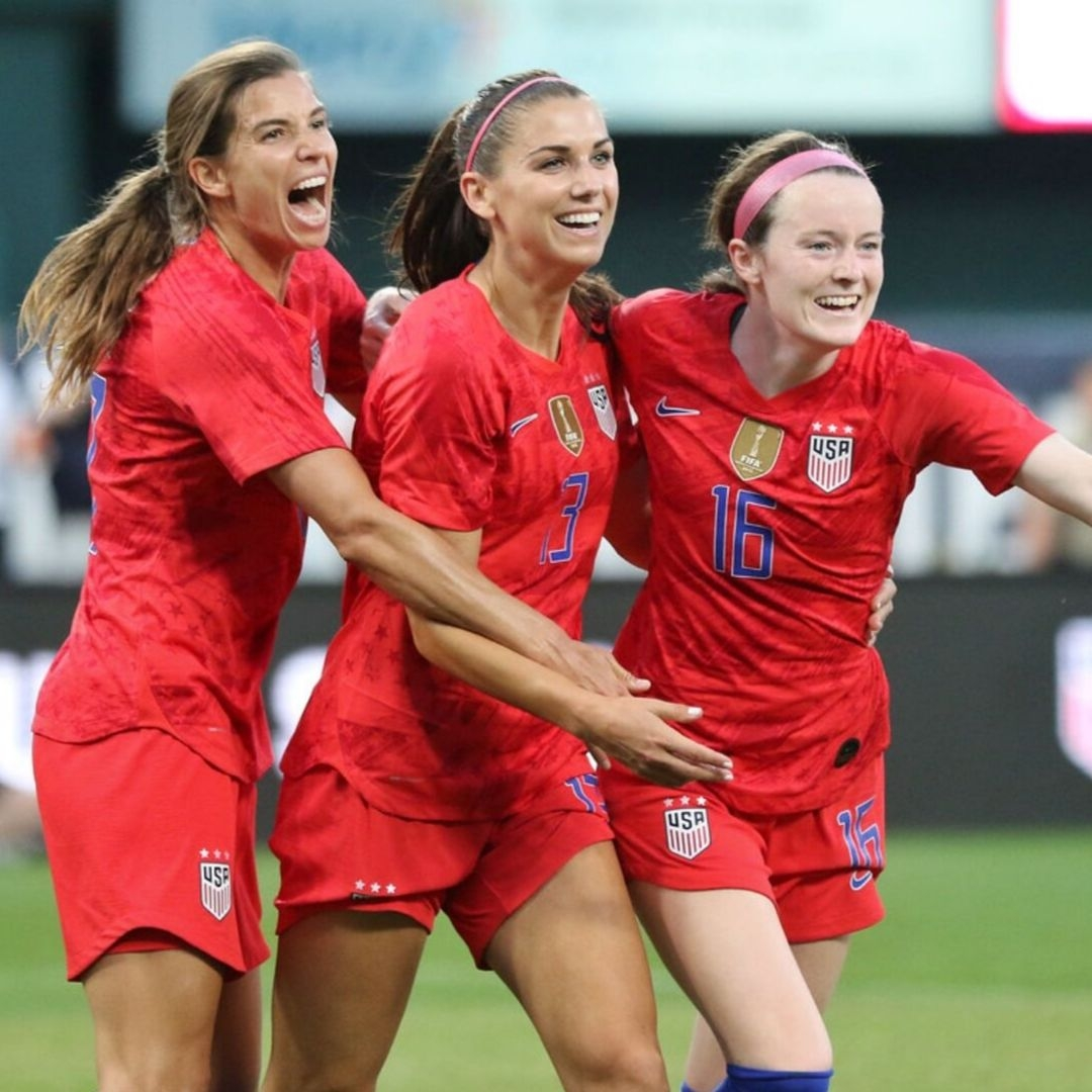 Alex Morgan and team mates celebrate victory at the FIFA Women's World Cup