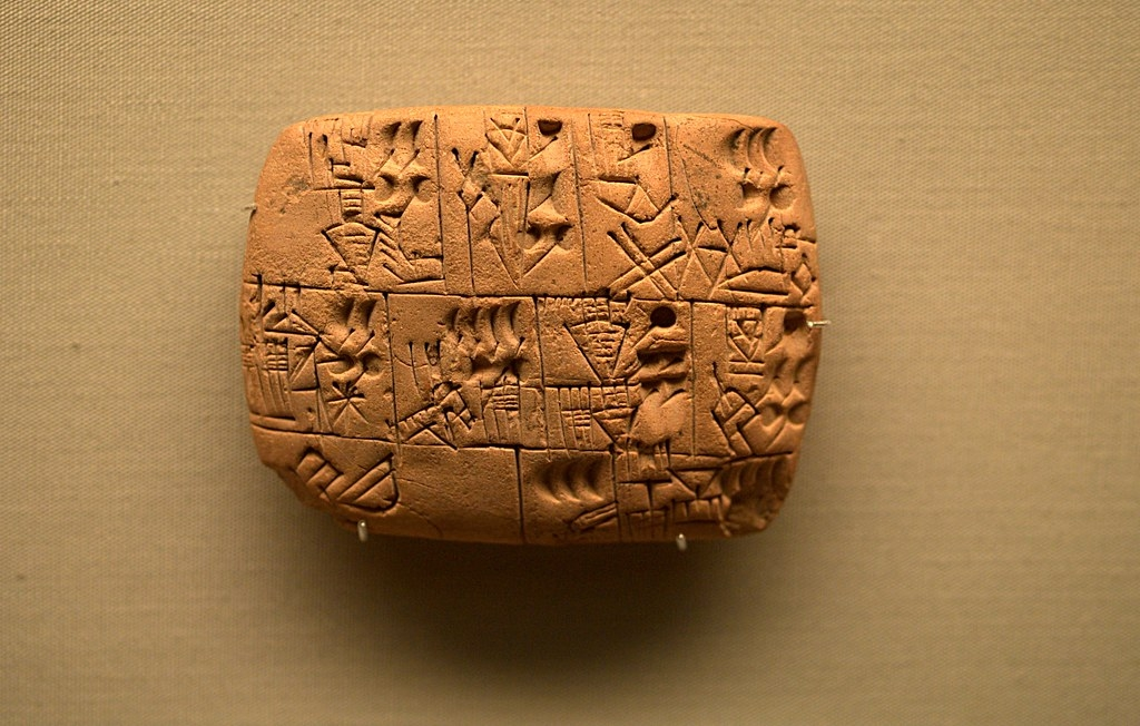 An ancient tablet featuring a beer recipe