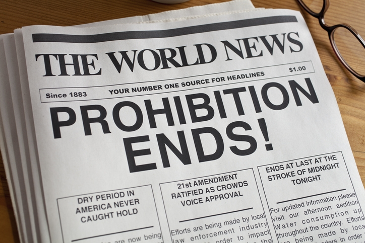 Prohibition ends on a newspaper headline