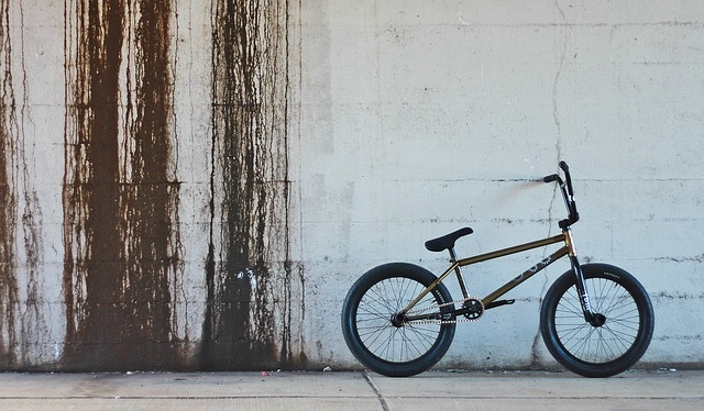 A bicycle motocross bike standing against a rustic backdrop