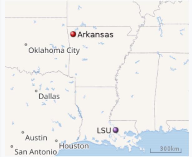 Boot Shaped Map of Arkansas and Louisiana