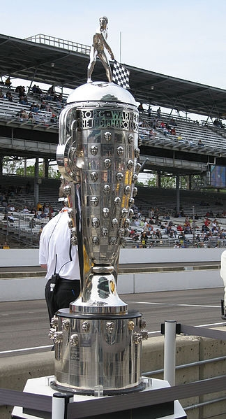 The Borg Warner Trophy on a Race Track