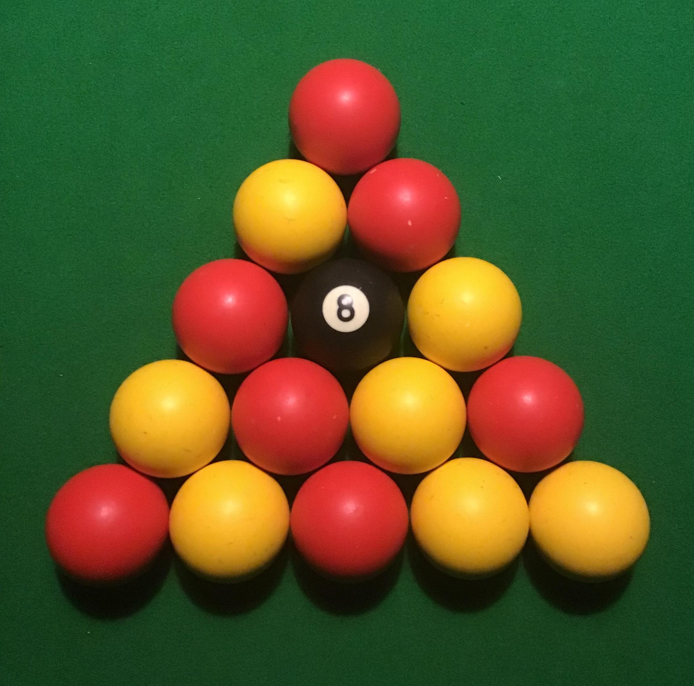 Correct set up of English (Black ball) pool balls