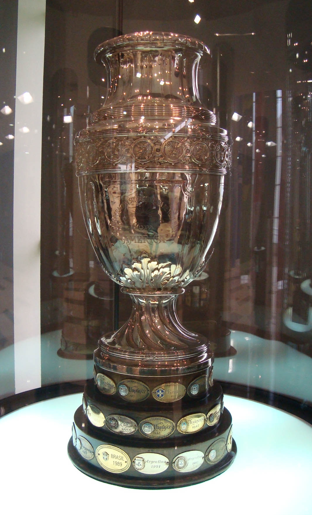 The Copa America Trophy on Display in a Glass Case