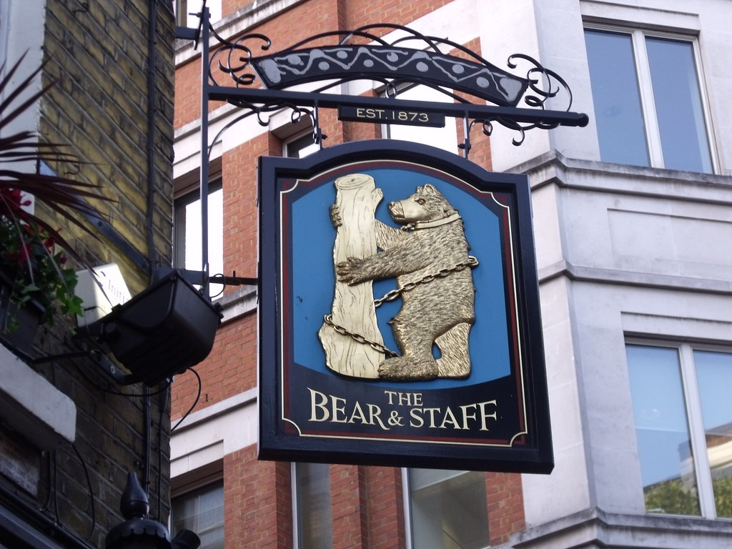 The Bear and Staff pub sign