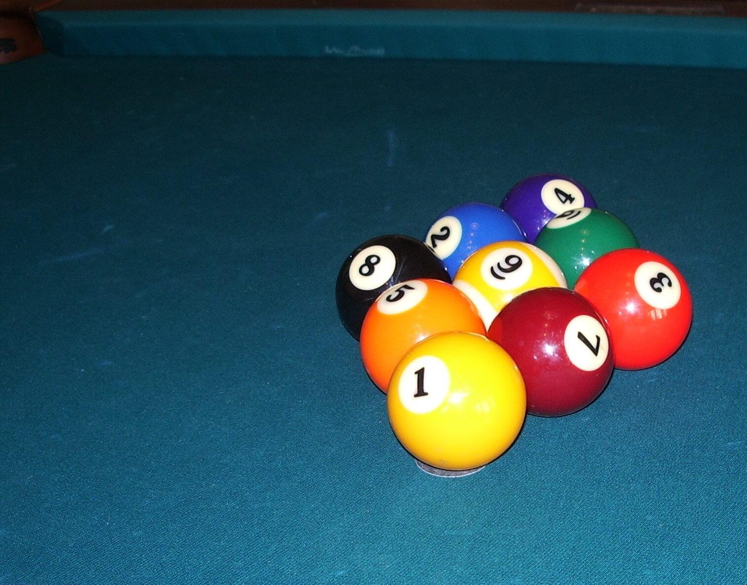 Correct nine ball pool set up
