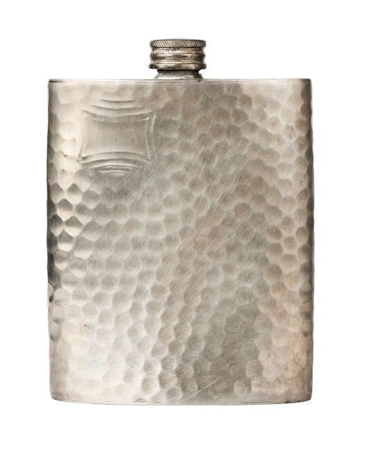 A pewter flask on a white background