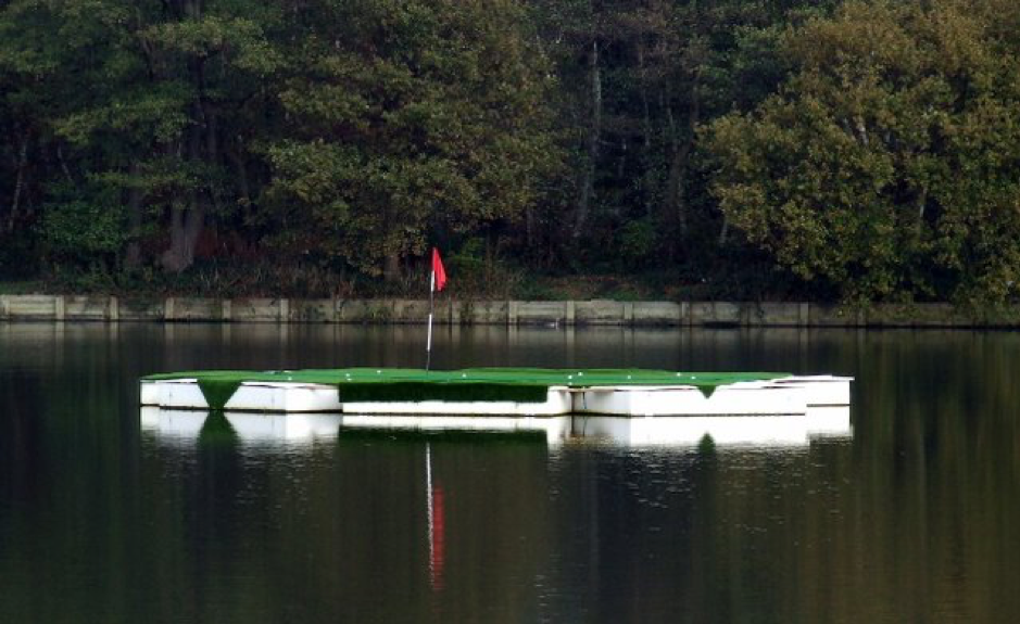 A floating golf green on a lake
