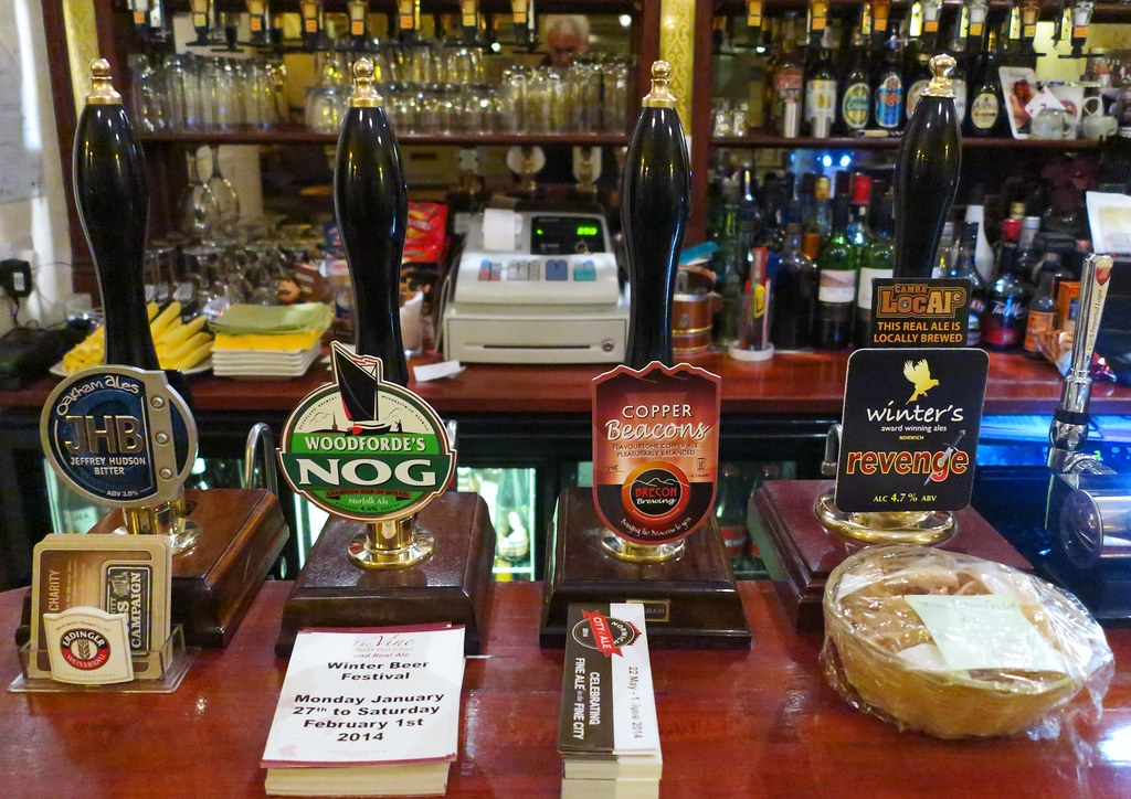 Cask ale on tap at an English pub