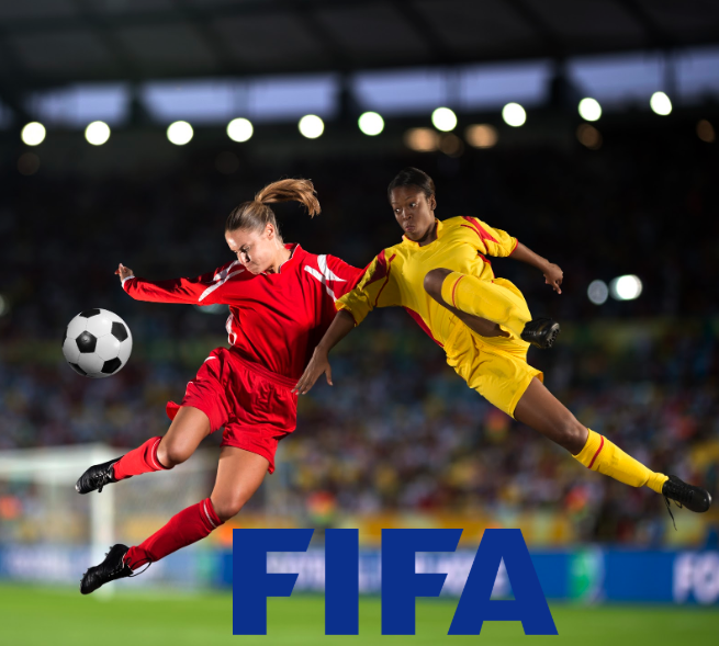 Two women's world cup football players jumping to kick a ball