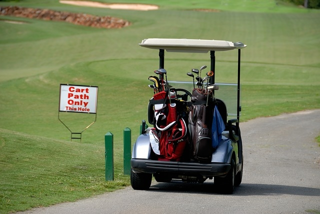 A caddy's golf cart